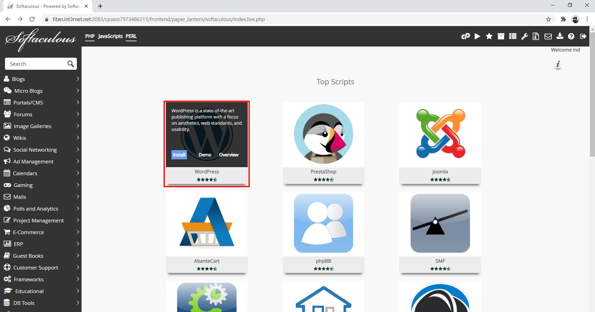 Softaculous-Click-WordPress-Install